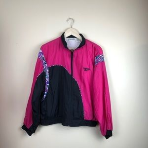 Vintage Reebok 1990s pink zip windbreaker medium